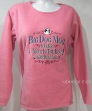 NWT~BIG DOG MOM RULES:Mom is Boss~Pink Plush Polar Fleece Top S Embroider Graphi