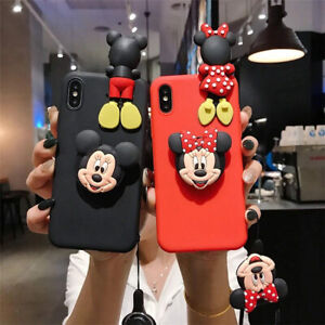 New Cute Happy Cartoon Mouse Soft Case Cover for LG Foldable Stand & Doll Strap