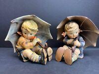 "VTG Set Of 2 Hummel Figure Umbrella Boy and Gir TMK 152/0 A & B 5"" IN W. Goebel"