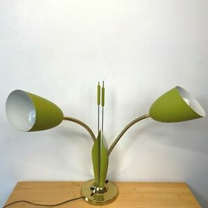 Vintage Table Lamp Avocado Green Cattail Leaves Double Cone MCM Gooseneck LB