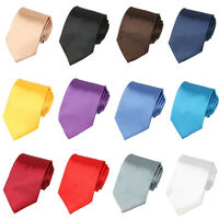 Men Classic 8cm Wide Satin Necktie Solid Color Wedding Party Formal Business Tie