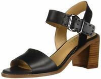 Franco Sarto Womens havana Leather Open Toe Casual Slingback, Black, Size 9.5 Vz