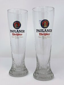 Paulaner Munchen WeiBbier Tall Swirl German Beer Glass .5L Set of 2