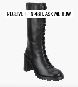 ZARA SRPLS LTHR HGH-HL BTS LEATHER HIGH-HEEL BOOTS BLACK FW20 ALL SIZES 1913/610