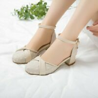 Lady Womens Ankle Strap Low Heels Chunky Round Toe Mary Jane Casual Buckle Shoes