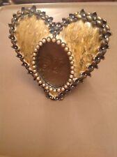 $295. Jay Strongwater Yellow Enamel, Swarovski, Silver Tone Oval/Heart Frame