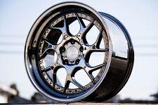 19x9.5/10.5 Aodhan 5x114.3 Ds1 +15 Black Vacuum Rims Fits G35 Coupe 370z 350z