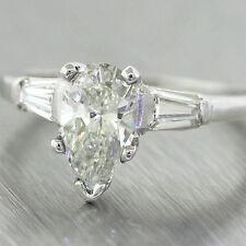 Solid Platinum 1.16ctw Pear Shape Tapered Baguette Diamond Engagement Ring EGL