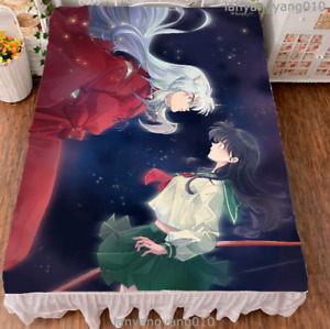 Anime Inuyasha Sesshoumaru Cosplay Bed Sheet Soft Flannel Blanket Bedclothes s#5