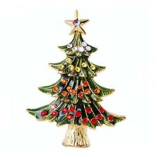 Beautiful 18k Gold Plated Green Enamel Rhinestone Crystal CHRISTMAS TREE Brooch