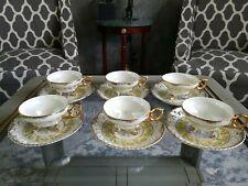 Yamato Iridescence Tea Set 6 Pairs  White, Yellow/ Gold  Tea Cups & Saucer Vntg