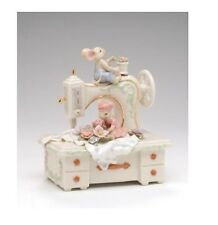 """New Porcelain Mice With A Sewing Machine"""" My Favorite Things"""" Music Box-Nais"""