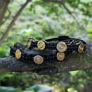 .223 Bullet Shell Bracelet with Black Leather Cord