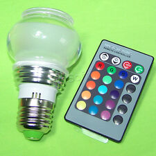 Crystal E27 3W IR Remote Control 7 Color RGB led Spot light bulb AC 85V-265V US