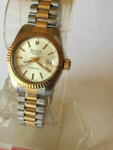 BULOVA SUPER SEVILLE 18CT GOLD PLATED AUTOMATIC WOMENS WATCH WITH WARRANTY