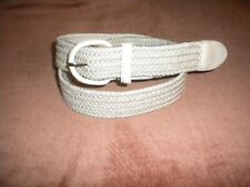 "OFF WHITE M-34-36 IN  x 1 1/4"" Woven Braided Elastic Stretch Belt  COVER BUCKLE"