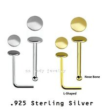 18K Gold Plating .925 Silver L-Shaped & Nose Bone 22g 2mm Round Flat Disc Top