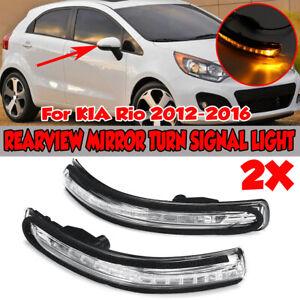 For KIA Rio 2012-2016 Left+Right Wing Mirror LED Turn Signal Light Indicators