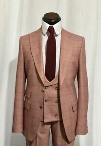 Made To Order Burgundy Check Suit 40R Slim