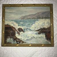 Vintage seascape coast hand painted original oil PAINTING beach crashing waves