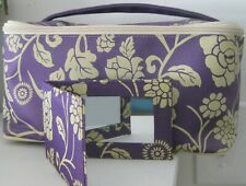 CLINIQUE PURPLE FLORAL LINED LARGE MAKEUP COSMETIC BAG TRAIN CASE + MIRROR NEW