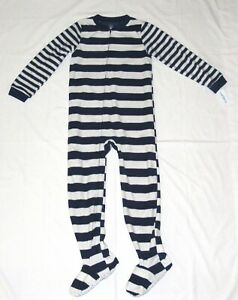 Carters Fleece Footed pajama Blanket Sleeper 6 7 8 10 14 Rugby Stripe gry/blu