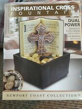 "Newport Coast Inspirational 6"" Cross Fountain w/ River Rocks & Flowing Water NIB"