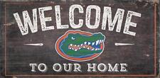 """Florida Gators Welcome to our Home - Wood Sign NEW 12"""" x 6"""" Decoration Gift"""
