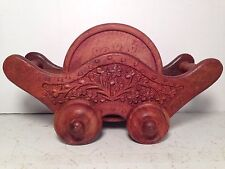 Vintage Wood Coasters Cart Hand Crafted Home Decor Barware Set Of 6