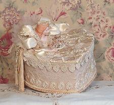 Victorian Beige & Cream Hand Decorated - Trinket/  Hat Box- Vintage Style BHB-1