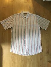 Oiler & Boiler Striped Linen Blend Short Sleeved Shirt Size Large