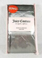 """New Juicy Couture King Size Silver Satin Pillowcases - 20"""" x 40"""" Polyester"""
