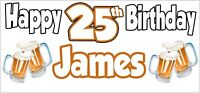 Beer 25th Birthday Banner x 2 Party Decorations Mens Husband Dad Grandad Son