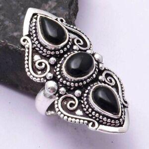 Black Onyx Ethnic Handmade Ring Jewelry US Size-5.75 AR 42442