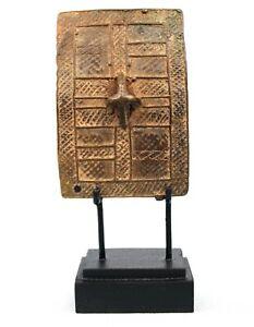 Art African - Antique Weight Shield Goldweight Akan - Base On Gauges - 10 CMS