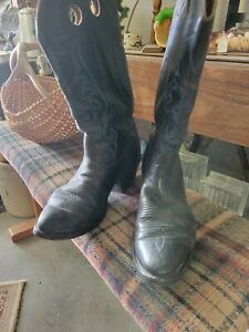 Mens unmarked nice leather cowboy boots 11 1/2 EE rodeo western