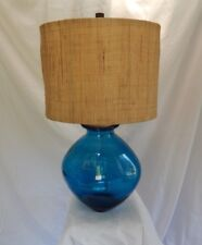 """Sapphire Blue Spanish Recycled Glass Oval Table Lamp  28"""" with shade"""