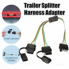 Flat 4-Way 4 Pin Y-Splitter Harness Adapter For Trailer LED Tailgate Light Bar