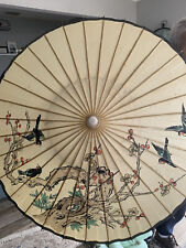 Stunning!Vint-Japanese Umbrella/parasol-hand Painted/lacquered RicePaper, Birds.