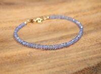 Ebay Natural Blue Topaz Faceted Gemstone Beaded Bracelet 925 Silver Clasp 7.5''