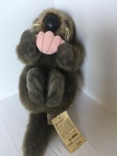 1987 Brown Monterey Bay Otter Holding clam - RARE - stuffed Sea Otter Tags 13""