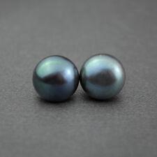 Boucles d'Oreilles Clou Perle de Culture Plat Argent 925 Noir Gris Bleu 9mm-10mm