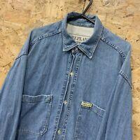 Vintage Replay Double-Ring Denim Long Sleeve Cotton Shirt Size Medium M