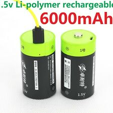 2pcs ZNTER 1.5V 6000mAh D Size Rechargeable Lithium Battery + USB Charging line