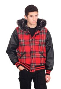SMOKE RISE Plaid Wool Jacket with Fur Trimmed Hood