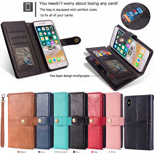 Leather Wallet Multi-Card Slot Flip Case For iPhone X Samsung S9+ Huawei P20 Pro