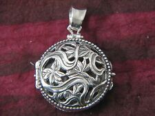 Round Medallion Art Nouveau 2-sided Locket Sterling Silver by Michael Bromberg