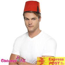Adult Red Fez Tarboosh Hat Moroccan Turkish Aladdin Dress Up Costume Accessories