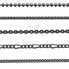 "Amberta 925 Sterling Silver Chain for Men Black Necklace 16-28"" Solid Link Gift"