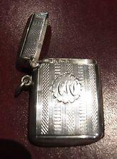 Superb Antique 1901 Solid Silver Vesta Case.  Pill Box